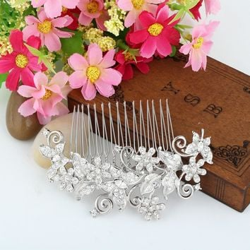 Bella Fashion Butterfly Animal Bridal Hair Comb Clear Austrian Crystal Rhinestone Hair Piece For Wedding Bridesmaid Jewelry Gift