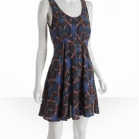 Free People charcoal tie-dye print zip back tank dress   BLUEFLY up to 70 off designer brands