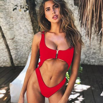 2018 Fashion Sexy Zipper Bikini One Piece Swimwear