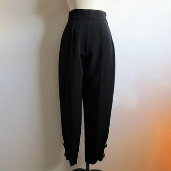 Black Claude Montana Pants 1980s Tapered Silky Evening Button Cuff 80s Slim Trouser 44 Made in Italy
