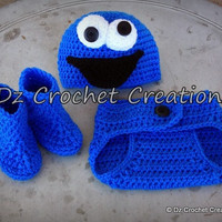 Crochet Cookie Monster Photo Prop/Diaper Cover Set