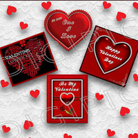 COMMERCIAL USE OK 4 Digital Valentine Heart Scrapbook Card Toppers, 300Dpi Instant Download