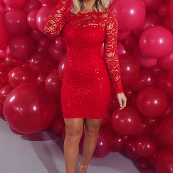 You Make My Heart Race Dress: Red
