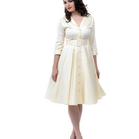 Haute Ivory Sateen Monte Carlo Dress