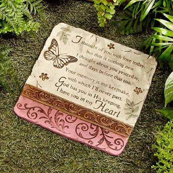Memorial Stepping Stone or Hang Garden Path Yard Ceramic I thought of you