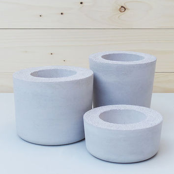 Set of 3: Grey Concrete Planters, Geometric Concrete Planter, Concrete Planters, Minimalist style, Planter, Concrete planter