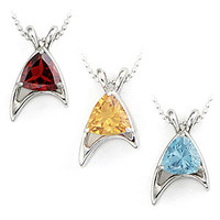Star Trek Sterling Starfleet Trillion Necklaces (Division Colors)