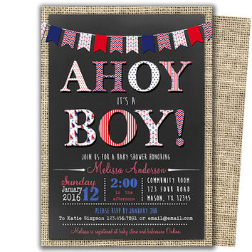 Ahoy Its A Boy Invitation - Ahoy Its A Boy Baby Shower - Modern - Trendy Chevron SailBoat Anchor Red Blue Nautical Burlap - Chalk - Invite