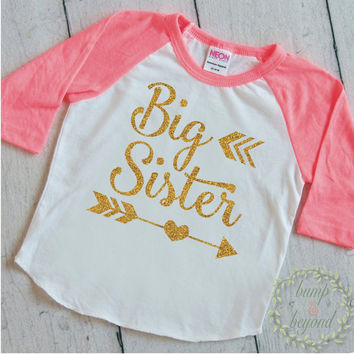 Big Sister Gift Big Sister Outfit Big Sister Shirt Sibling Big Sister Little Sister Announcement Shirt Gold Big Sister Outfit 127