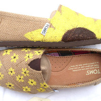 The Sunflower  Yellow Sunflower Custom TOMS by FruitfulFeet