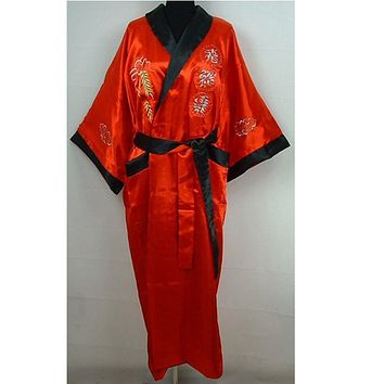 Novelty Reversible Red Black Men's Bath Gown Chinese Embroidered Dragon Nightwear Two-Face Kimono Gown One Size
