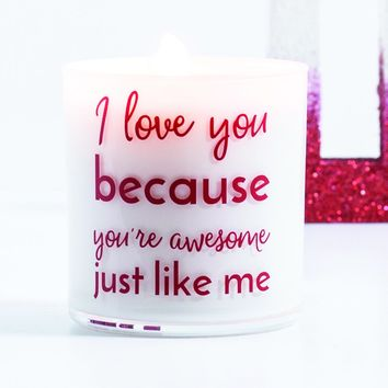 I Love You Quote Jar in Fairy's Dust Scent