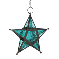 Blue Glass Star Candle Lantern