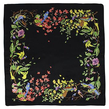 Dahlia Women's 100% Square Silk Scarf - Birds Among Blossom Neckerchief