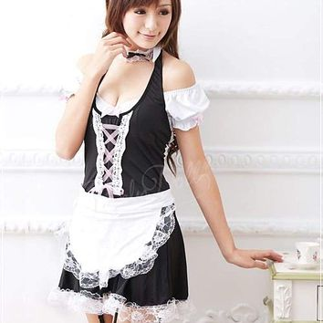 MOONIGHT Sexy Maid Costumes Women Uniform Dress Lace Outfit Cosplay Halloween French Maid Costumes Game Uniform Macchar Cosplay Catalogue