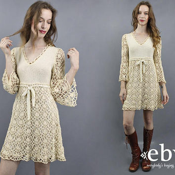 Crochet Dress Bell Sleeve Dress Hippie Dress Hippie Wedding Dress Hippy Dress 70s Mini Dress 1970s Dress Babydoll Dress Festival Dress XS S