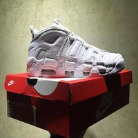 Best Online Sale Nike Air More Uptempo Retro Sport Baskerball All White Sneaker