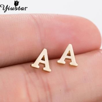 Yiustar A-Z Alphabet Earrings in Stud Earrings Tiny Lovely Alphabat Letter Earrings for Women Girls Kids Personalized Jewelry