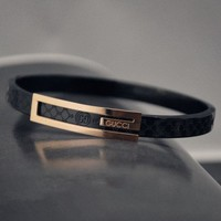 GUCCI classic diamond - shaped titanium steel - plated 18k rose gold bracelets for men and women