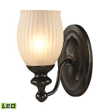 Park Ridge 1-Light Vanity Lamp in Oil Rubbed Bronze with Reeded Glass - Includes LED Bulb