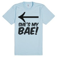 SHE'S MY BAE! American Apparel Unisex Fitted Tee / Light