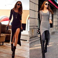 New Korea Special Sexy Irregular Hem Long Sleeves Slender Dress Long = 1902355268