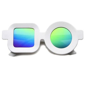 White Rainbow Circle and Square Reflective Sunglasses