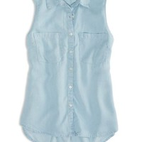 AEO Factory Women's Sleeveless Chambray Shirt (Chambray Blue)