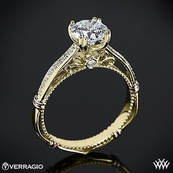 14k Yellow Gold Verragio Shared-Prong Split Claw Diamond Engagement Ring