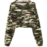 Dark Green Camo Crop Top Sweatshirt