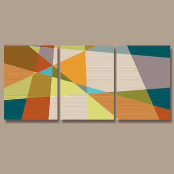 Geometric Wall Art Canvas Artwork Pottery Absract Retro Modern Shapes Colorful Office Decor Set of 3 Prints Bedroom Bedding Bathroom Three