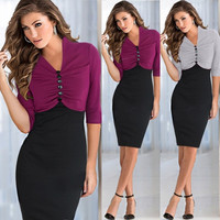 Mujeres pinup color golpe T¨²nica OL Cocktail Partido bodycon vestido  F_F