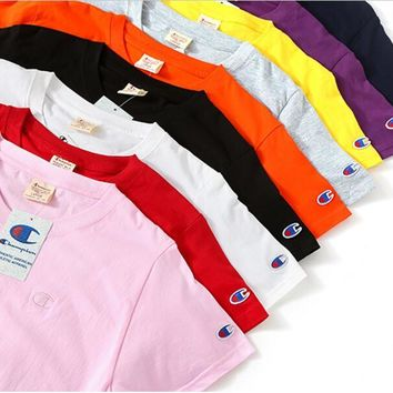 Champion: Round Neck Couple Short Sleeve Cotton Tee top nine color