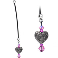 Vintage Heart Pregnancy Belly Ring Created with Swarovski Crystals | Body Candy Body Jewelry