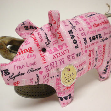 Pig, Made To Order, Pink Valentine Fabric Pig, Piggy Pillow Tuck Shelf Sitter
