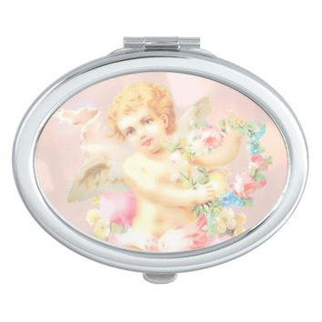 Claire Blossom Cute Angel Pink Compact Mirror