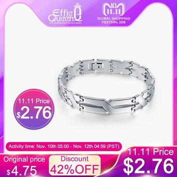 "Effie Queen Personality ""X"" Pattern Men Bracelet Stainless Steel Bracelets Jewelry for Best Friends Wristbands IB16"