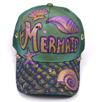 Mermaid Hand Painted Snapback