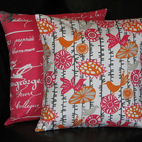 """Decorative Throw Pillow Covers 20"""" Accent Pillows orange, coral 20x20 inch set of TWO tangerine, pink Bird Suzani Script"""