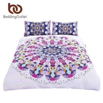 Swirl Bedding Set Blue Red Twill Bohemian Bedclothes Multi Sizes 3pcs Stylish Duvet Cover