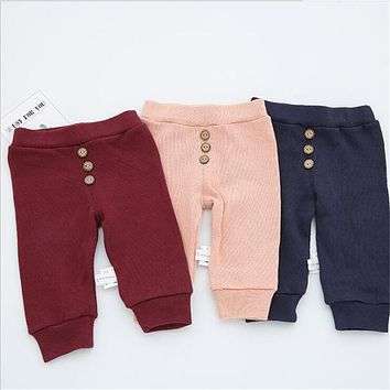 2017 Fashion Children Pants Spring Autumn Newborn Baby BoysGirls Pure Color 3 Button Trousers Kids Casual Knit Big PP Pants A546