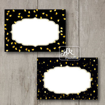 Gold Foil Food Tent Cards, Printable Buffet Labels, Blank Party Printables, DIY Place Cards, Wedding Food Cards, Hearts, Diamonds, Bling