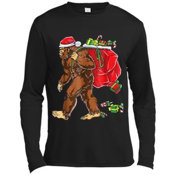 Bigfoot Santa Christmas Boys Men Sasquatch Xmas Gift Long Sleeve Moisture Absorbing Shirt