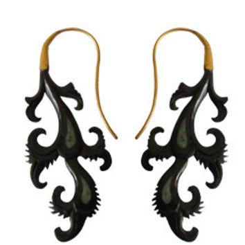 Fake Gauged Horn Earring,  Horn Curved Earring, Unique Exotic Earring, Tribal Brass &  Horn Earring, Organic Horn Earring