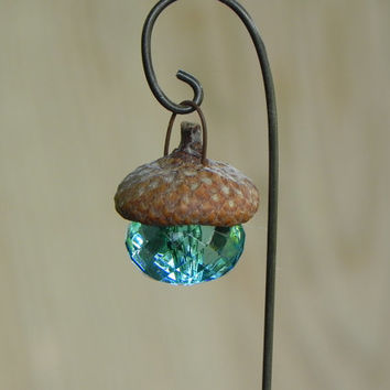 Fairy garden accessories Acorn Cap Lantern - robin's egg blue miniature - handmade - decorative hook included - terrarium supplies