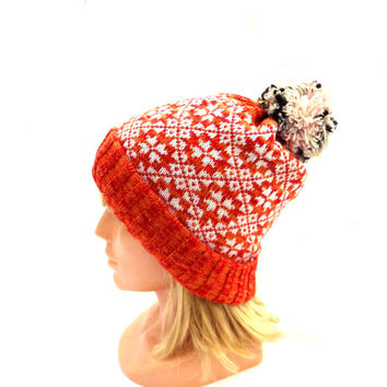 knitted winter hat, knit beanie hat with lining, kniting colorful patternrd double hat, red orange white skull cap, women men accessories