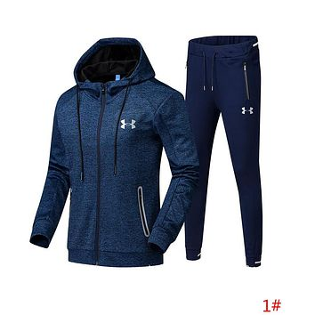 """Under Armour"" Fashion Men Casual Print Hoodie Top Sweater Pants Trousers Set Two-piece Sportswear 1# Blue I13689-1"