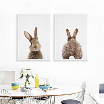 Bunny Nursery Wall Picture Kawaii Animals Rabbit Art Prints Poster Canvas Painting Kids Room Decor No Frame LY0005