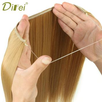 DIFEI 24 inches Women Fish Line Hair Extensions Black Brown Blonde Natural Wavy Long High Tempreture Fiber Synthetic Hairpiece