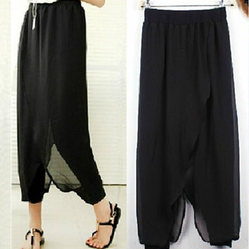 Plus Size Women Ladies Chiffon Herem Pants  Yoga Casual  Baggy Summer Trousers = 1932984836